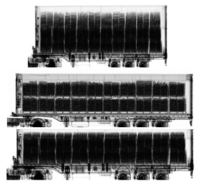 Fig. 3. Real container scan with Euromax (top) and SH-HCVS (middle) scanners. The Euromax scan was converted to the HCVS format (bottom).
