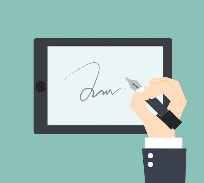 electronic signature cartoon