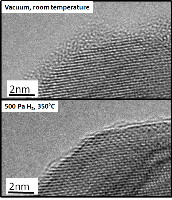 Figure 2: Palladium surface with initial oxide layer imaged in vacuum and the same surface image under reducing conditions at 350°C