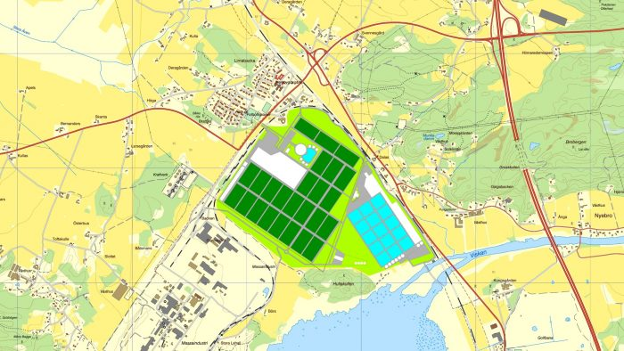 an industrial area where fish and vegetables are to be produced in a completely circular infrastructure. The area is located next to a large industry to utilise energy, heat and electricity, and other local resources