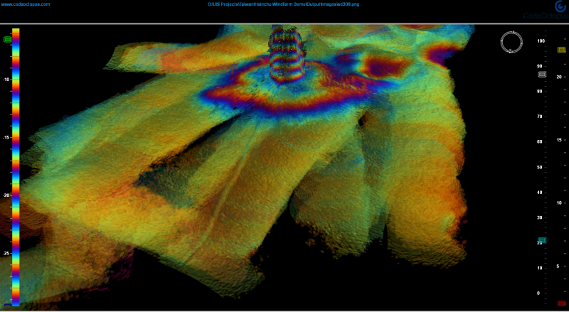 Turbine Foundation and Electric Cable location in the 3D_Echoscope image