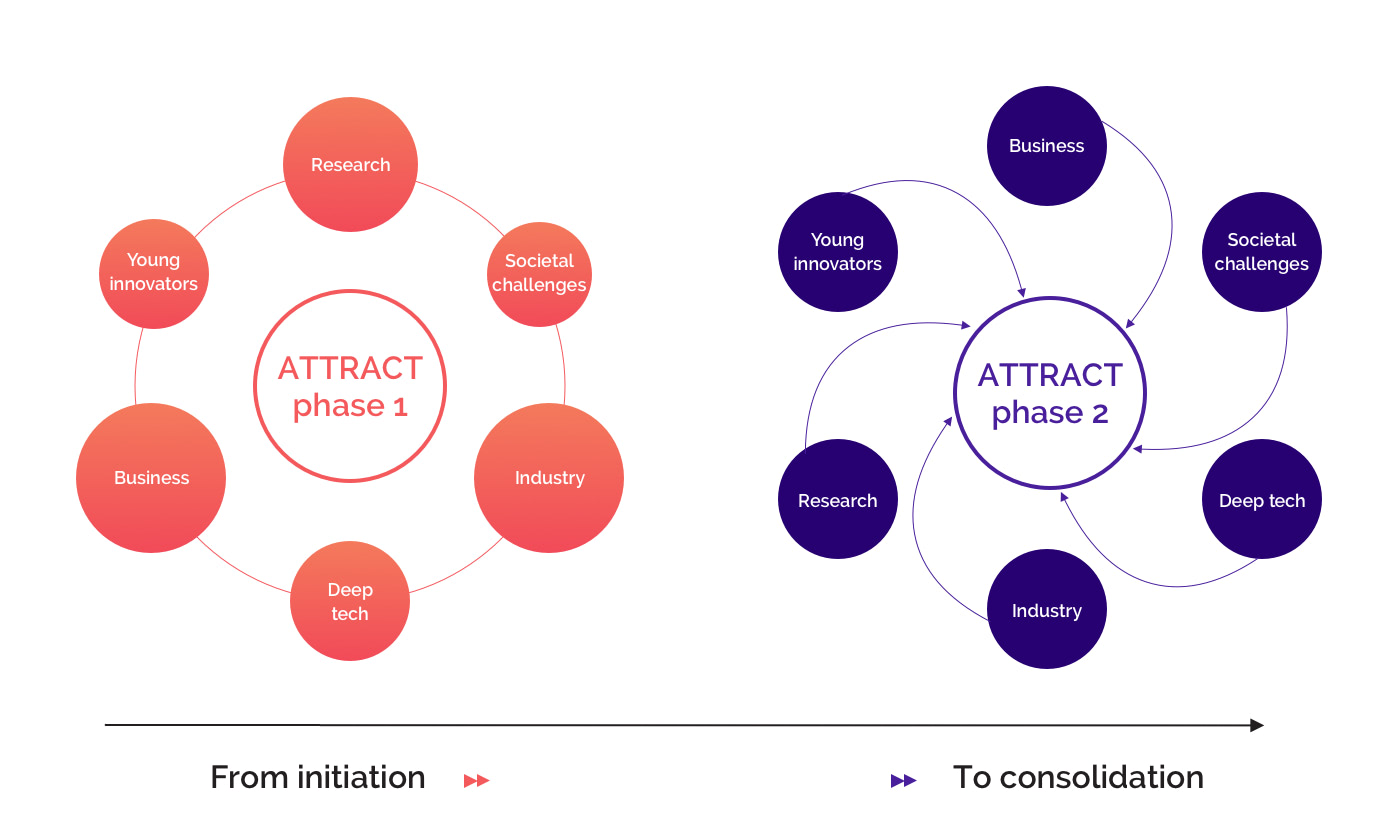 Fig. 4. ATTRACT phase 1 initiated the ATTRACT R&D&I ecosystem by identifying its key actors and enabling the kick-start of breakthrough technology projects. ATTRACT phase 2 will enrich opportunities to strengthen their collaborative interactions.