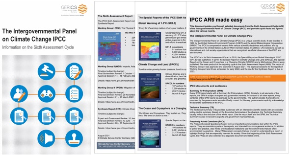 """Cover of both leaflets: """"The Intergovernmental Panel on Climate Change IPCC. Information on the Sixth Assessment Cycle"""" (left) and """"IPCC made easy"""" (right)"""